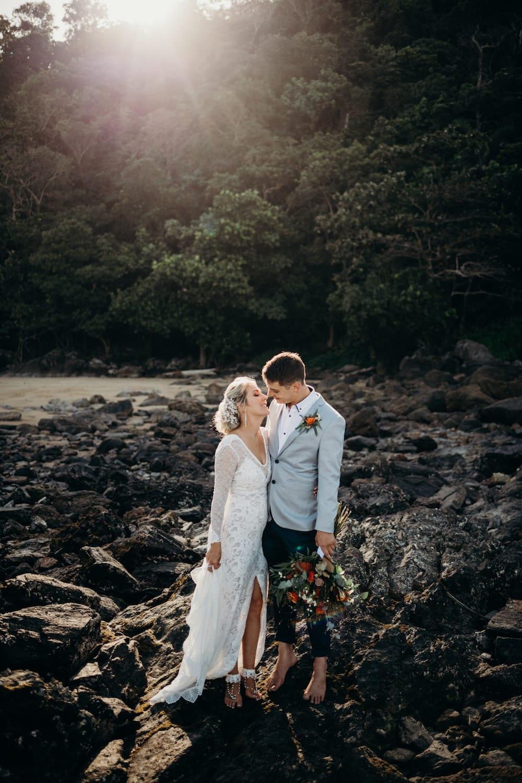 Mission Beach wedding Couple on the beach