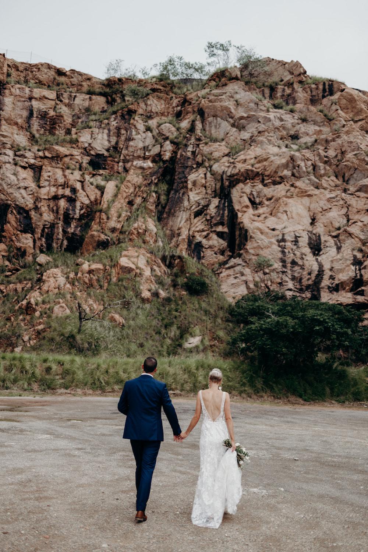 tablelands wedding newlyweds holding hands