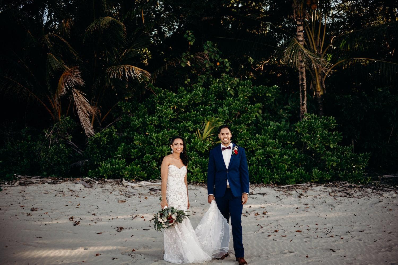 port douglas beach wedding happy couple