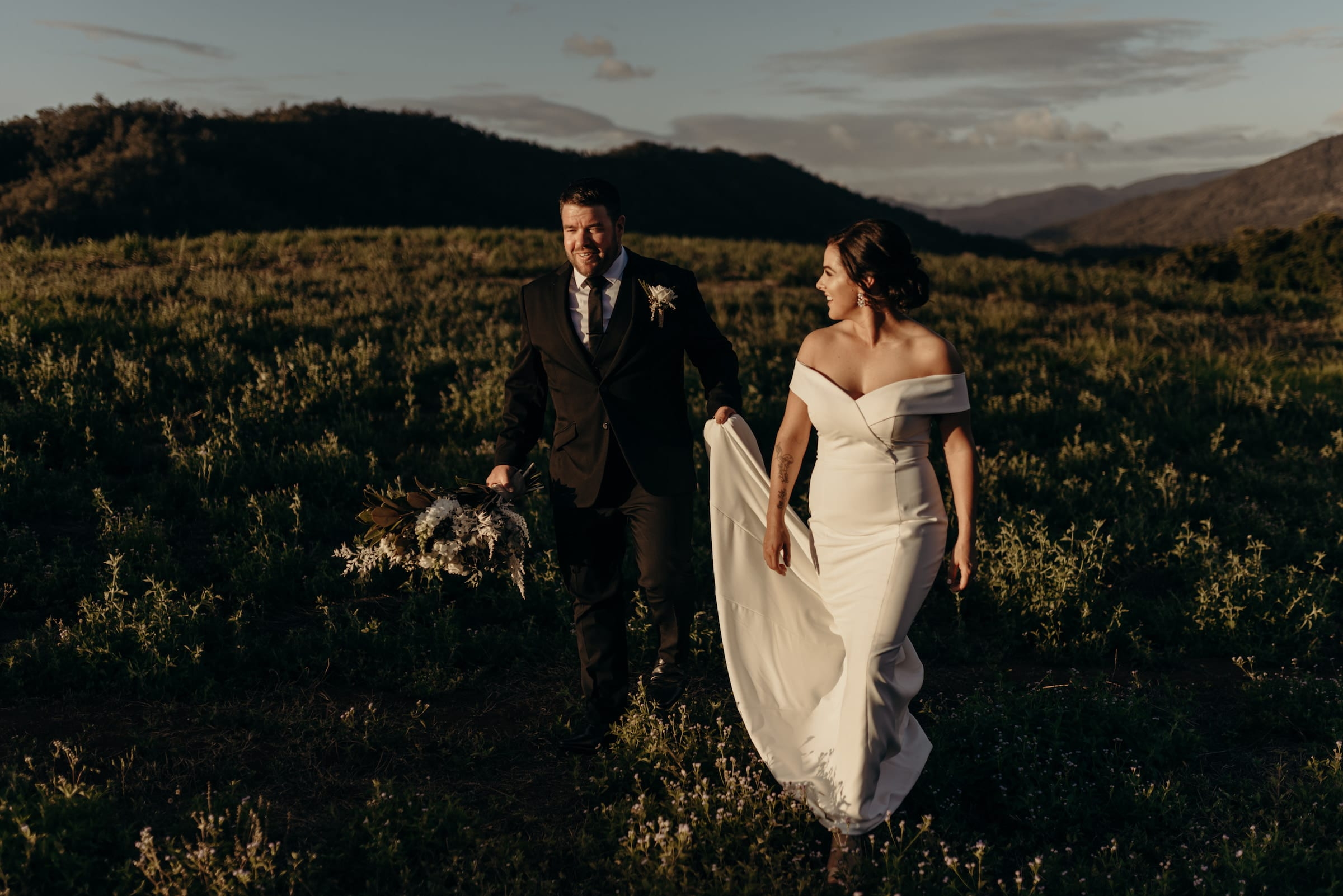 Cairns Elopement Photography, Couple walking in the hills