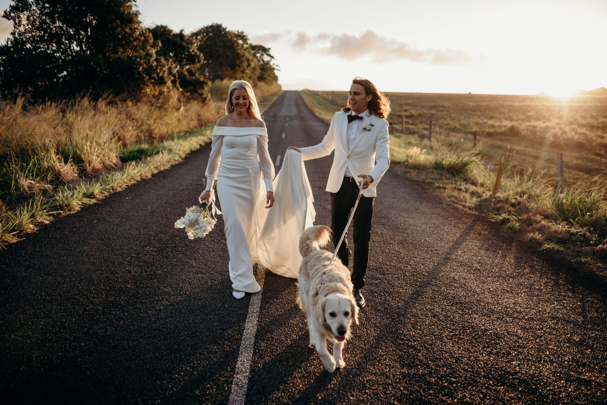 Tablelands Wedding photography, couple walking on a country road